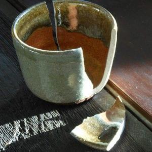 broken pottery cup