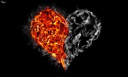 heart with flames on one side and smoke on the other